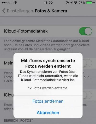 iCloud reaktivieren. Alle mit iTunes synchronisierte Fotos werden entfernt