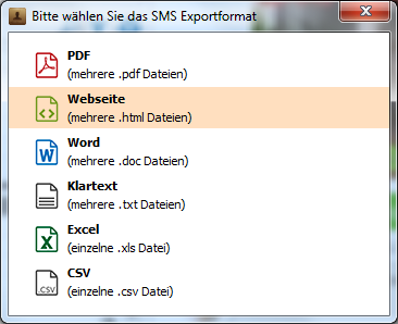 """die Option """"Website (HTML-Datei)"""" auswählen"""