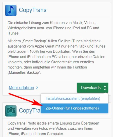 CopyTrans Progremma herunterladen