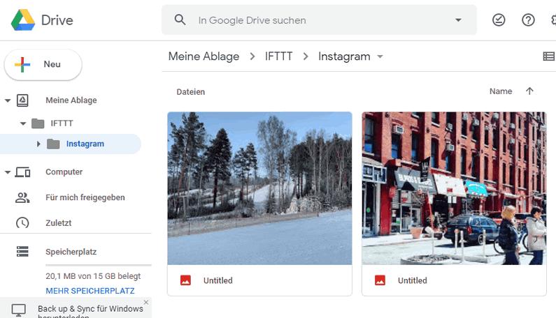 Instagram auf Google Drive speichern