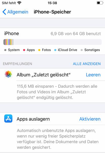 iPhone Speicher Kapazität anzeigen
