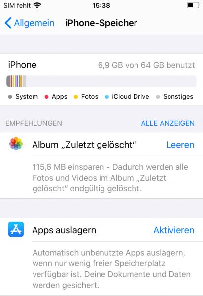 iPhone Speicher anzeigen