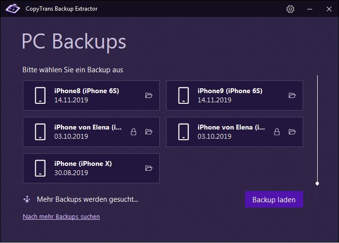 Backups Liste in CopyTrans Backup Extractor