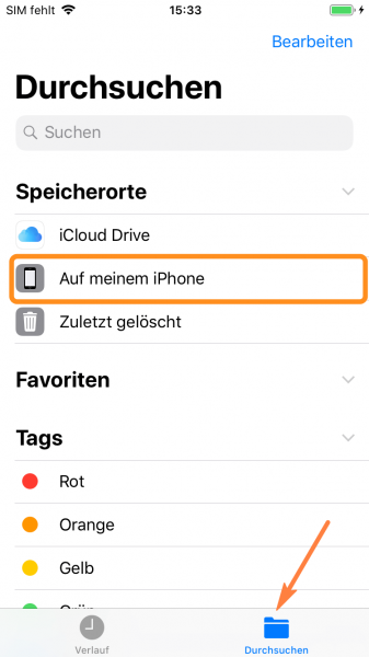Dateien App am iPhone verwenden
