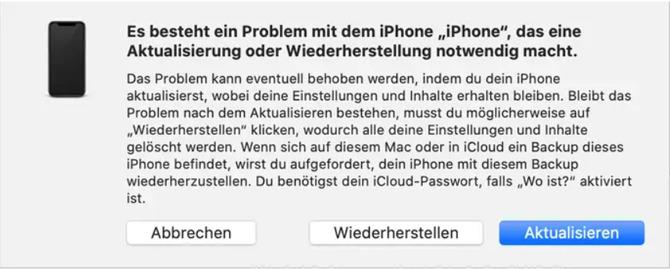 iTunes Wartungsmodus