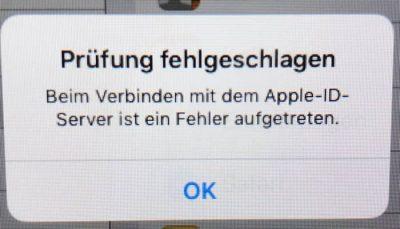 Beim Verbinden mit dem Apple-ID-Server ist ein Fehler aufgetreten