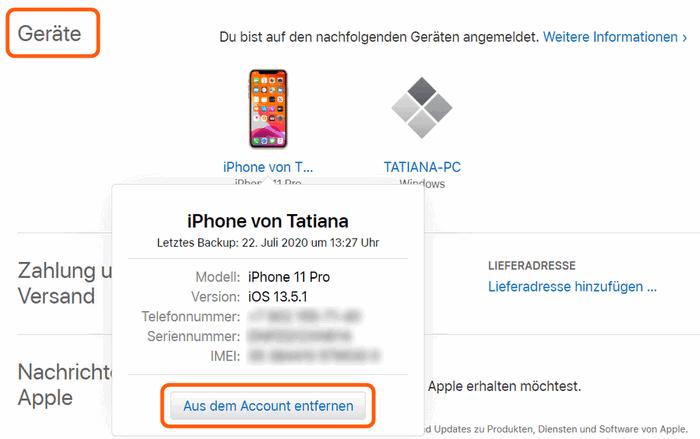 iPhone von der Liste entfernen