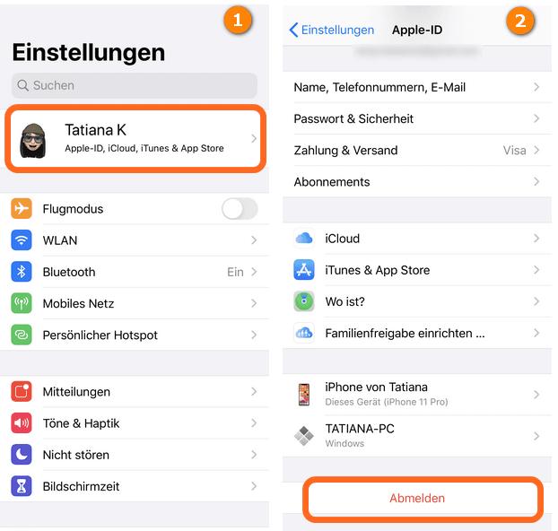 Apple ID abmelden