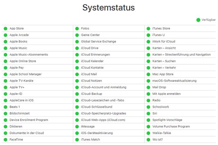 Apple-Systemstatus