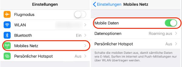 Mobiles Netz am iPhone aktivieren