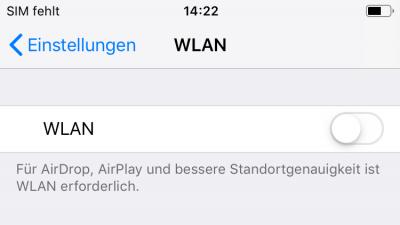 WLAN auf dem iPhone beim apple id server fehler deaktivieren