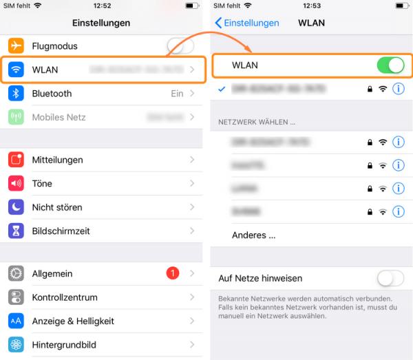 WLAN auf Ihrem iPhone einschalten