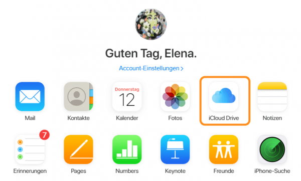 iCloud Drive auswählen