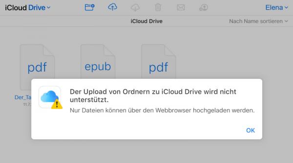 keine Ordner in iCloud