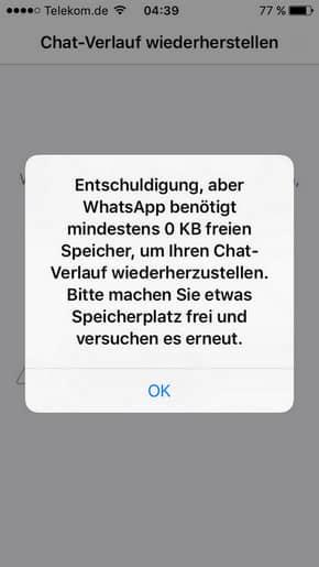 WhatsApp Backup mit iCloud hängt