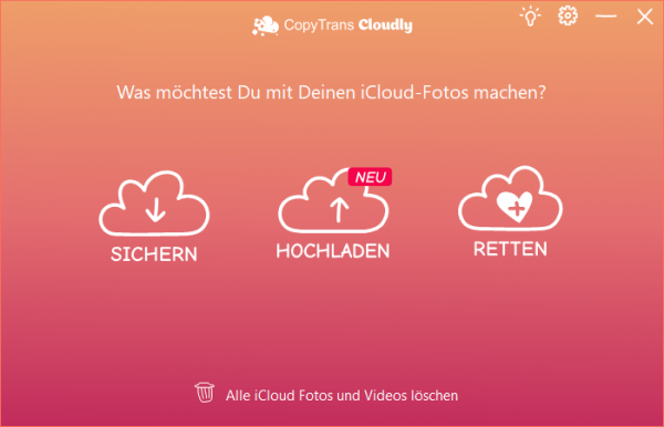 CopyTrans Cloudly Hauptfunktionen