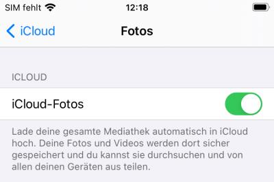 iCloud Fotos aktiviert