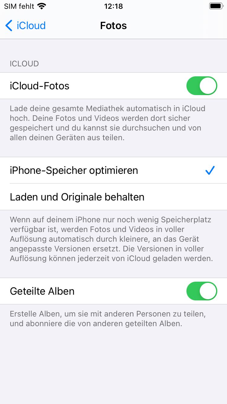 iCloud-Fotomeiathek am iPhone aktivieren