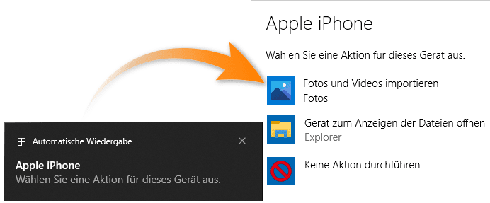 Fotos vom iPhone auf PC Windows 10