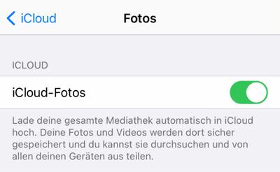 iCloud Fotos auf iPhone aktiviert