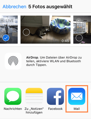 iPhone Bilder per E-Mail senden