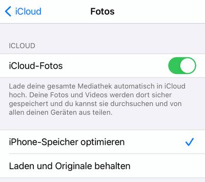 iCloud-Fotomeiathek auf iPhone aktivieren