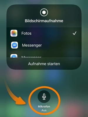 Bildschirmaufnahme iPhone mit Ton