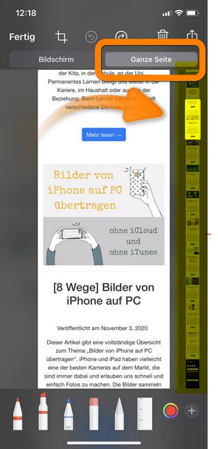 iPhone Screenshot ganze Seite