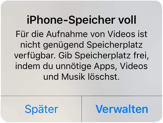 iPhone Speicher voll Meldung