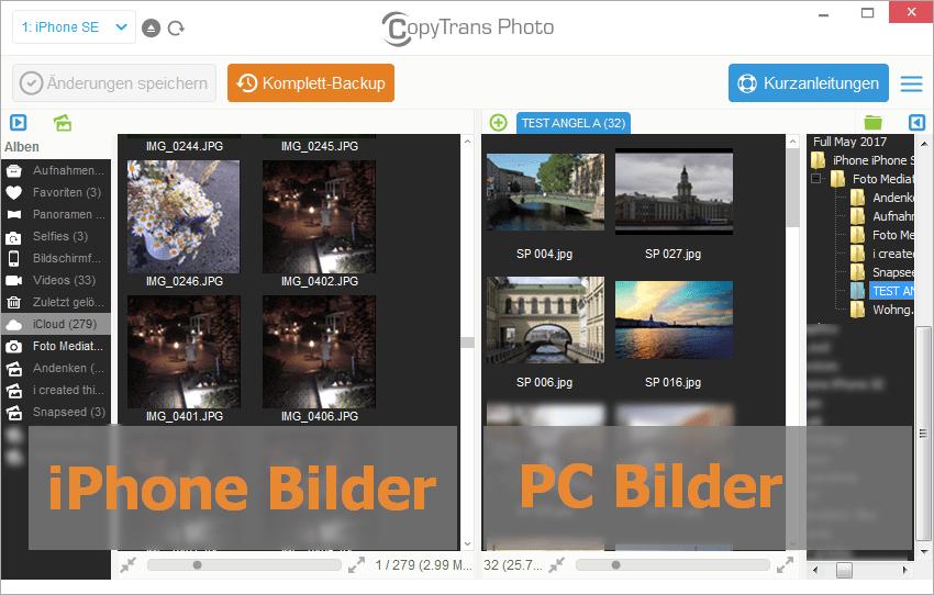 Bilder von iPhone auf Windows mit CopyTrans Photo