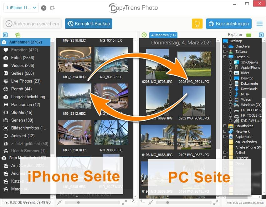 Bilder zwischen iPhone und PC übertragen