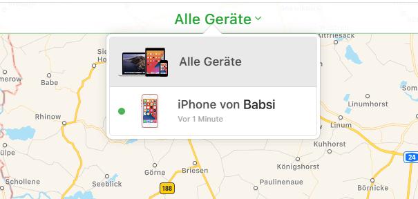 gesperrtes iPhone in iCloud auswählen