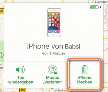 iPhone löschten unter icloud.com