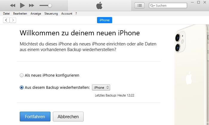 iPhone mit iTunes nach der Deaktivierung wiederherstellen