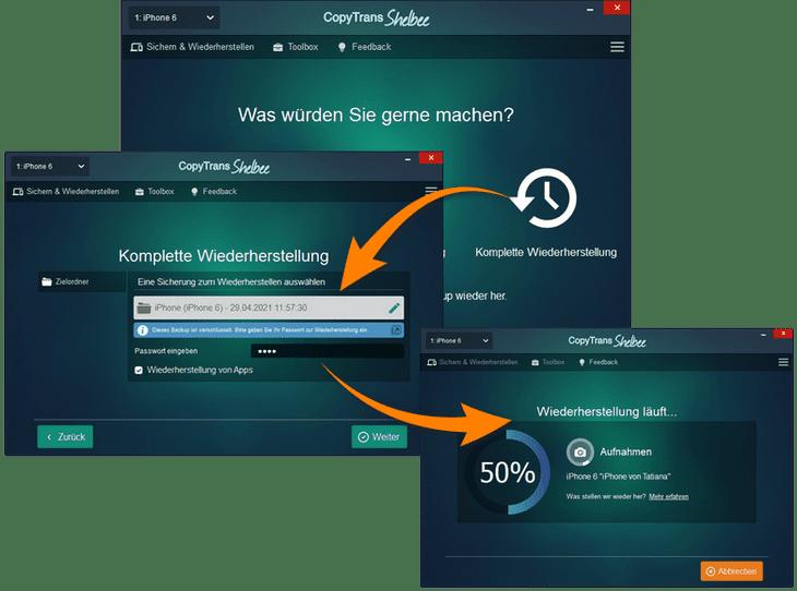Daten von Backup komplett wiederherstellen