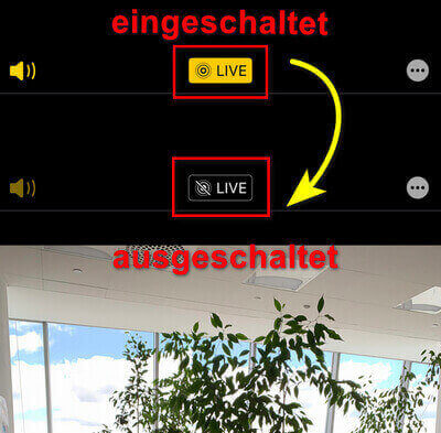 Animation auf den vorhandenen Live Fotos deaktivieren