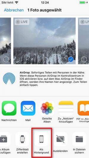 iPhone Live Foto als Hintergrund