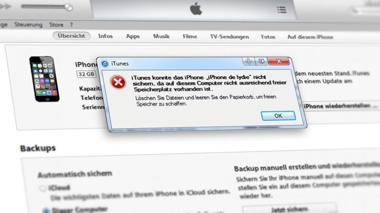 iPhone Backup nicht möglich zu wenig Speicherplatz