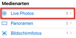 Live Fotos iPhone sind im separaten Fotoordner