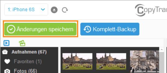 Änderungen speichern Button in CopyTrans Photo