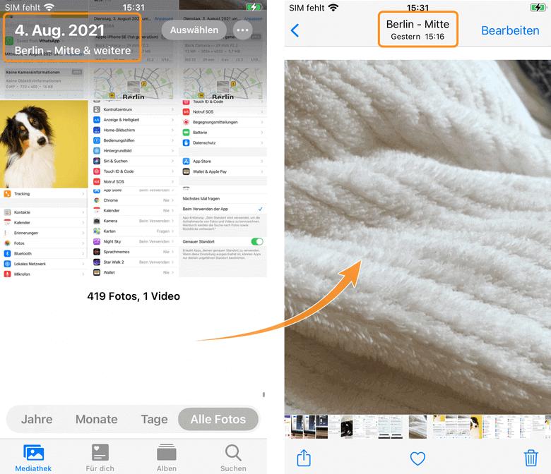 EXIF Daten auslesen: Aufnahmeort von Fotos anzeigen iPhone