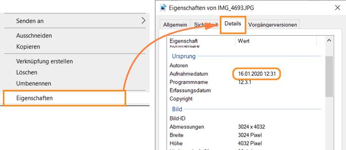 Bilder Metadaten am PC überprüfen
