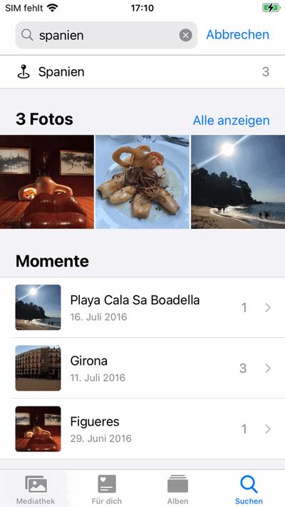 Fotos nach Aufnahmeort am iPhone suchen