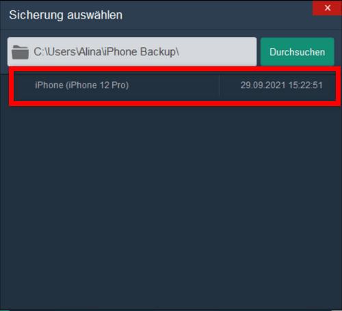 Apple ID gehackt was tun - Backup wählen