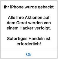 Ihr iPhone wurde gehackt Nachricht